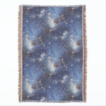 Starry Space Blue Throw Blanket