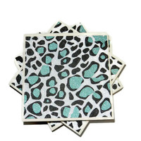 Light Blue Leopard Print Ceramic Coasters with Glitter, Set of Four