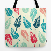 Leave Me Multi (Aqua Red) Tote Bag by Beth Thompson