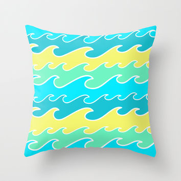 Ocean Waves Throw Pillow by tzaei | Society6