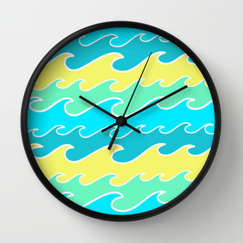 Ocean Waves Wall Clock by tzaei | Society6