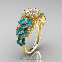 Nature Classic 18K Yellow Gold 1.0 Ct White Sapphire Diamond Turquoise Orchid Engagement Ring R604-18KYGDTWS