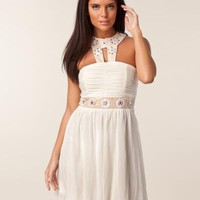 Mesh Double Trim Dress - Elise Ryan - Ivory - Festklänningar - Kläder - NELLY.COM Mode online på nätet