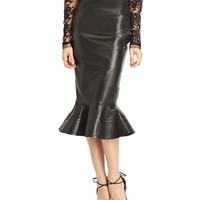 Banded Leather Fluted Skirt