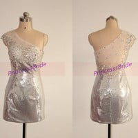 Sparkly short sequins homecoming dress with crystals,2014 one shoulder prom dresses under 150,sexy women gowns for holiday party hot.