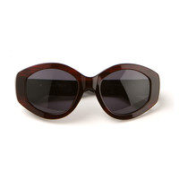 THE ROW BLACK SMOCKED RED SUNGLASSES