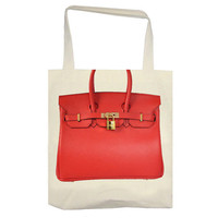 Red Hermes Birkin PRINT Tote by zzzAfternoon on Etsy