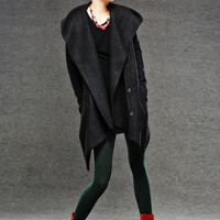 Black Jacket Hoodie Wollmantel Winter Jacket