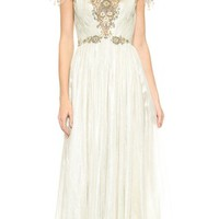 Hand Pleated Chiffon Gown