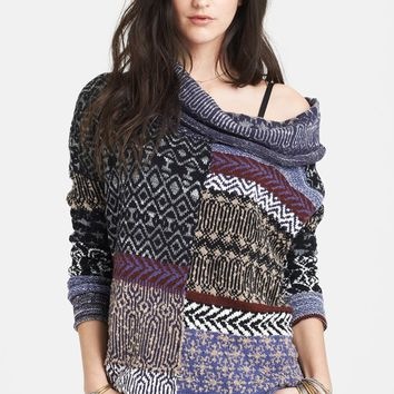 Free People Cowl Neck Patchwork Sweater | Nordstrom