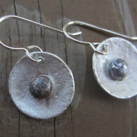 Artisan Silver Flower Earrings, Silver Pebble Earrings, Hammered Silver Earrings