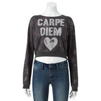 Mighty Fine ''Carpe Diem'' Crop Sweatshirt - Juniors