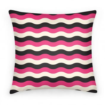 Pink Cream Black Stripe Pillow