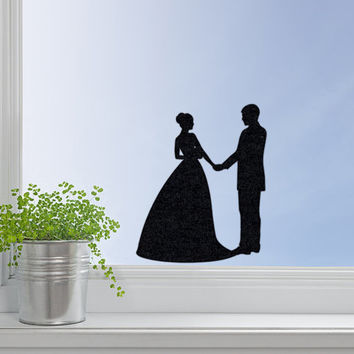 Wedding Decal - Black Velvet Newlywed Laptop Sticker - Bride and Groom Window Decal - Couple Decor