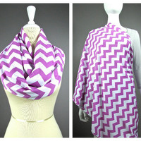 Chevron scarf, Nursing cover  scarf, nursing cover, nursing scarf, breastfeeding cover, nursing infinity scarf, Purple scarf