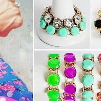 Designer Inspired Stylish Crystal & Gem Dot Bracelets!
