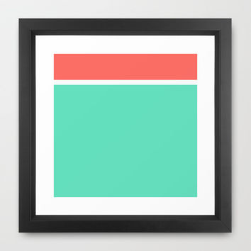 Coral/White/Teal Stripe Framed Art Print by Bethany Mallick