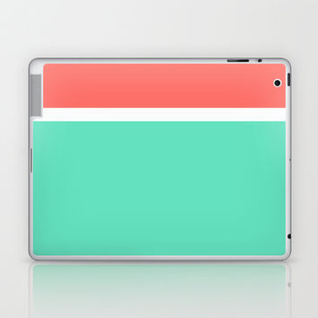 Coral/White/Teal Stripe Laptop & iPad Skin by Bethany Mallick