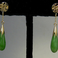 Vintage 14k Gold Chinese Symbol Jade Tear Drop Earrings