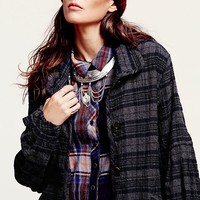 Free People Plaid Slouchy Jacket