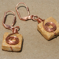 Yellow Stone Copper Spiral Dangle Earrings by LesleyPridgen