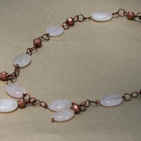 Copper and Rose Quartz Necklace with Copper by LesleyPridgen