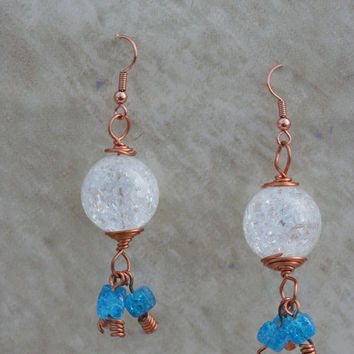 Glass Copper wire earrings with blue dangles by LesleyPridgen