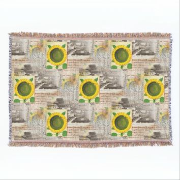 Sunflower Ancient Rome Italian Throw Blanket