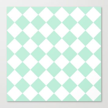 Diamond Mint Green & White Stretched Canvas by BeautifulHomes | Society6