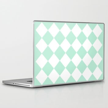 Diamond Mint Green & White Laptop & iPad Skin by BeautifulHomes | Society6