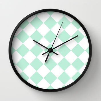 Diamond Mint Green & White Wall Clock by BeautifulHomes | Society6
