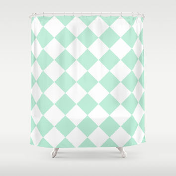 Diamond Mint Green & White Shower Curtain by BeautifulHomes | Society6