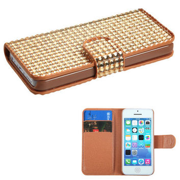 Book-Style Full Diamond Wallet Case for iPhone 5C - Gold