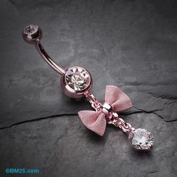 Pink Dainty Bow-Tie Belly Button Ring