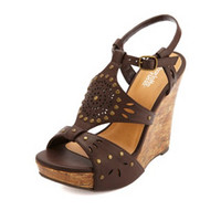 STUDDED LASER-CUT PLATFORM WEDGE SANDALS