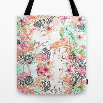 TROPICAL FLAMINGO Tote Bag by Monika Strigel | Society6