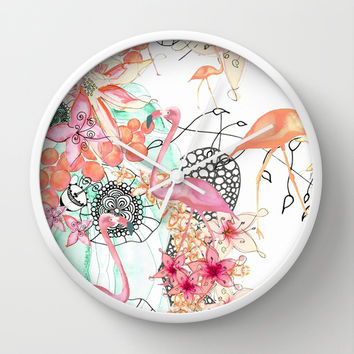TROPICAL FLAMINGO Wall Clock by Monika Strigel | Society6