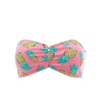 PINEAPPLE PRINT ZIP-UP BANDEAU BRA