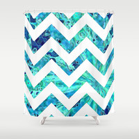 Arctic Blast Chevron Shower Curtain by gretzky | Society6