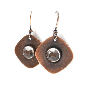 Copper and Quartz Rounded Square Shaped Gemstone Earrings