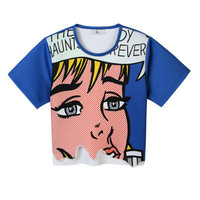 Front Row Designer Cartoon Print Top