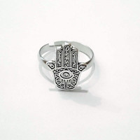 Adjustable hamsa ring