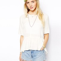 ASOS Short Sleeve Frill Hem Top at asos.com