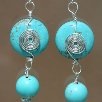 Turquoise Magnesite and Sterling Silver Earrings by LesleyPridgen