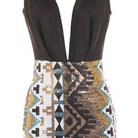 Aztec Sparkle Dress | Duo Fabric Open Back Sequin Dresses | RicketyRack.com
