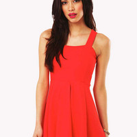 Leigha Strappy Textured Skater Dress in Orange