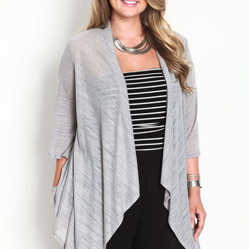 PLUS SIZE OPEN BUTTERFLY CARDIGAN
