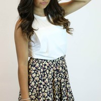 Floral Flared Mini Skirt | En Creme