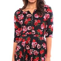 Floral Print Bodycon Top with Front Zipper