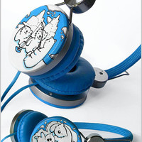 Polar bear Custom headphones by ketchupize
